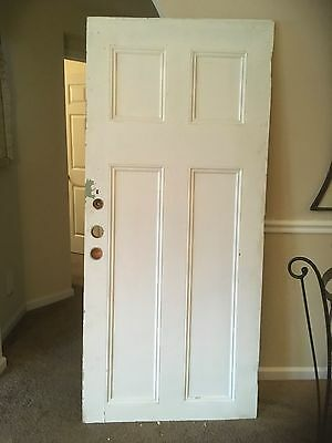 Vintage WOOD DOOR 4 paneled wooden antique old architectural