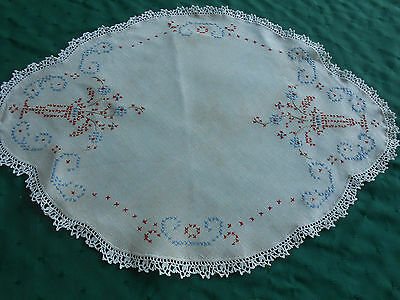 Red, White And Blue Hand Embroidered Doily With Hand Crochet Lace, Circa 1930