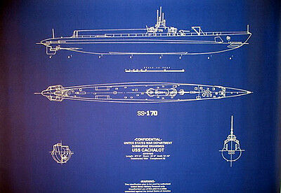 "US Navy Diesel Sub Submarine WW2 USS Cachalot Blueprint Plan 24""x30"" (083)"