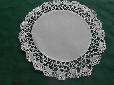Charming Round White Linen Doily With Fine Hand Crochet Lace Trim, Circa 1920
