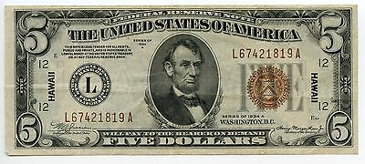 $5 Dollar 1934 A Federal Reserve Hawaii Over Print Small Size NearXF Note AA0325