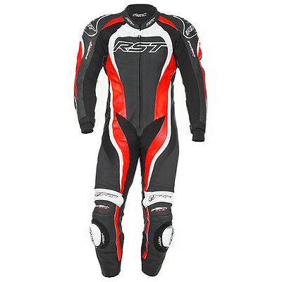 RST Tractech Evo 2 one piece leather race suit Flo Red UK 44 HUGE SAVINGS!