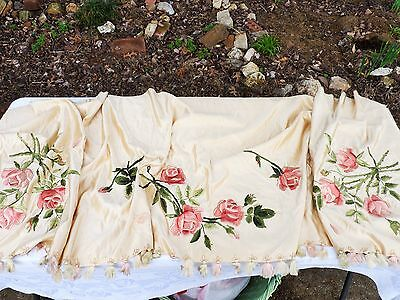 Antique Silk Panel Embroidered Embrodery Roses French Shabby Huge Beautiful