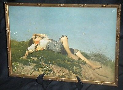 THE SHEPHERD BOY by F. LENBACH -VINTAGE FRAMED LITHOGRAPH / PRINT