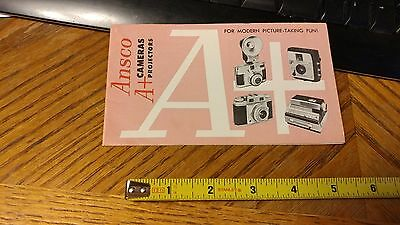 VINTAGE ORIGINAL CAMERA  BROCHURE ANSCO CAMERAS & PROJECTORS  photography