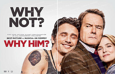 WHY HIM? James Franco Bryan Cranston 2-PAGE OSCAR AD Golden Globe 2016 Why Him