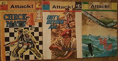 Trio of Vintage Attack! War Stories in Pictures Comics (1960's)
