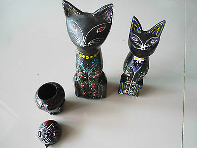 Laquerware three items =Two sitting cats + owl trinket box now reduced to clear!