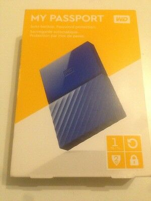 WD My Passport Portable Hard Drive 1 TB Hardware encryption Blue