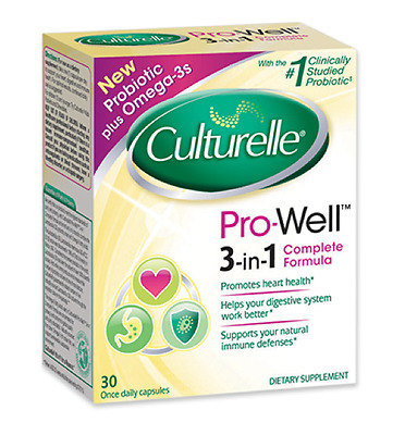 Culturelle Pro-Well 3-in-1 Complete Formula - 30 Once Daily Capsules - Exp. 7/18