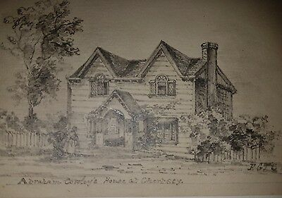 Pencil Drawing 'Abraham Coroley's House at Chertsey' Signed and Dated