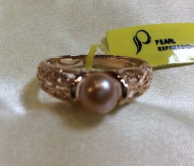 1.65 Ct, Peach, Pearl Ring, Solitaire, Rose Gold Over Sterling, Sizes Q, Or P