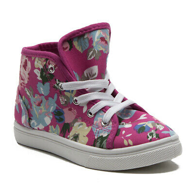Toddler Girls' Little Kids Cay-05 Floral Print Canvas Hi-Top Sneaker Boots Shoes