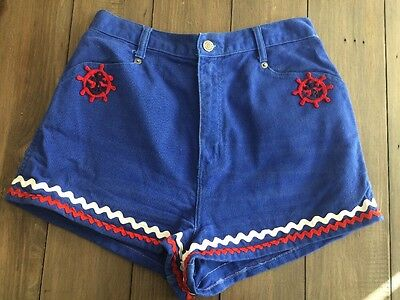 Vintage Bonjour High Waist Nautical Theme Blue Denim Shorts Sz 11/12