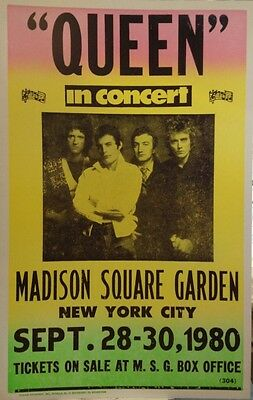"Queen Concert Poster - 1980 - Madison Square Garden 14""x22"" - Freddie Mercury"
