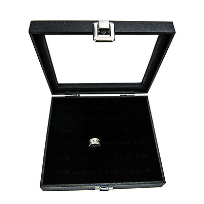 Ring Display Showcase With Velvet Insert Liner Jewelry Organizer (36 Slot Case)