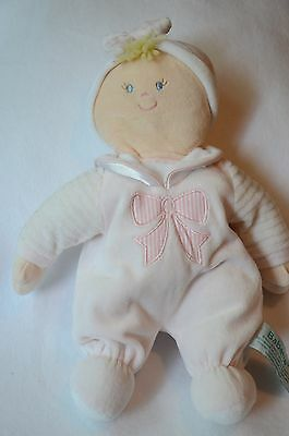Russ Berrie Babette Plush Velour Baby Doll Rattle Pink Bow Stuffed Soft Toy