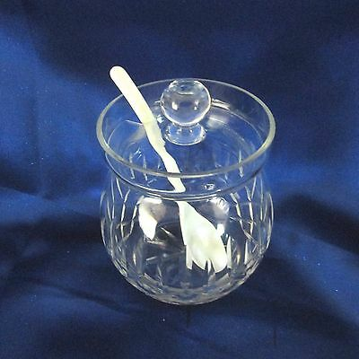 Round Clear Glass Jelly Jar With Etched Diamond Shapes, Inset Lid With Spoon