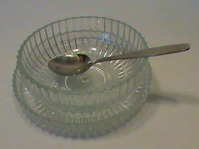 vintage cut glass sauce bowl and plate and Northland stainless silver spoon #D18