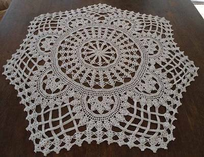 Antique Fancy Crochet Lace Tablecloth Topper Braided Art Deco Floral Ecru 32""