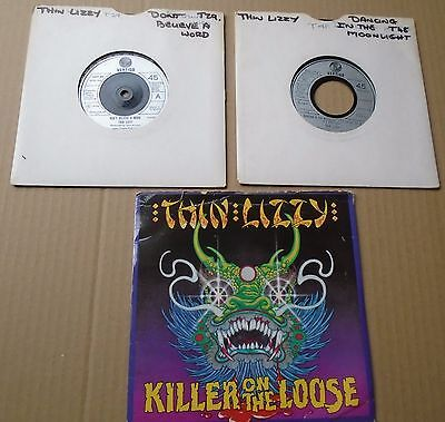 "THIN LIZZY - DANCING in the MOONLIGHT + Don't believe a word+Killer on. - 7"" x2."