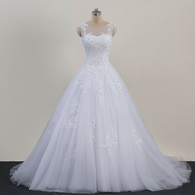 NEW White Ivory Bridal Wedding Dress Bridal Gown Custom Size  4 6 8 10 12 14 16+