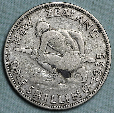 1935 New Zealand Shilling~Silver~King George V~KM-18~Combined S.& H.