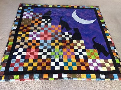 Hand Made Quilt Black Cats