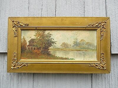Antique Indiana Folk Art Oil on Board Landscape Painting with Chickens