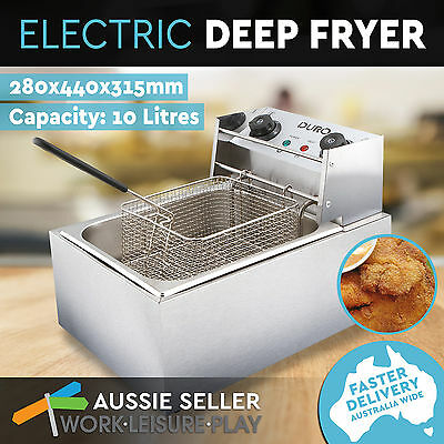 10L Duro Commercial Electric Deep Fryer Frying Basket Chip Cooker Fry Stainless