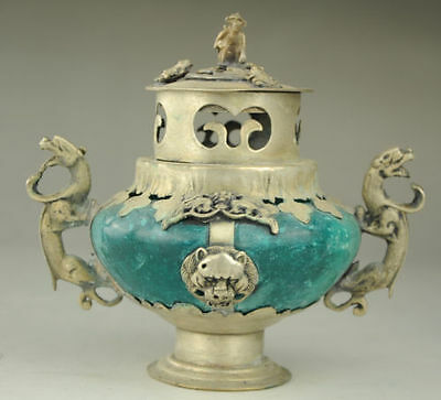 Chinese Old Porcelain & Tibet Silver Hand Painted Incense Burner & Lid