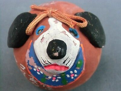 DR81 Japanese Clay Bell Ceramic Hand Made  Painted Dog Vtg Yakimono Dorei