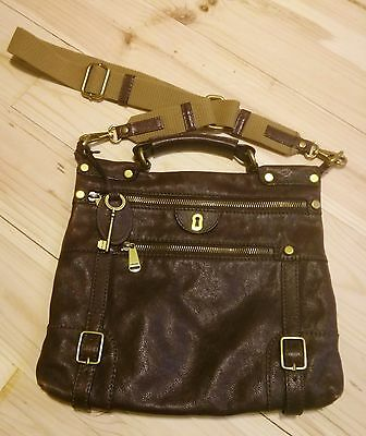 FOSSIL Brown Leather Purse/ Messenger Bag Gold Key