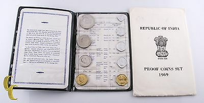 1969 Republic of India 9 pc Proof Coin Set (BU) Brilliant Uncirculated Condition