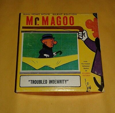 """Vintage 8mm Mr. Magoo Film Columbia Pictures Home Movie """"Troubled Indemnity"""""""