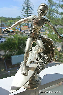 "used large SURFER statue Brass silver vintage style TROPHY 12"" SURF surfing"