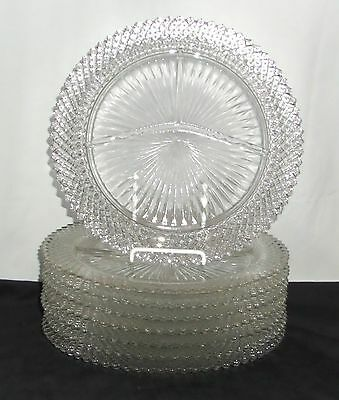 """8 Anchor Hocking MISS AMERICA CRYSTAL *10 1/4"""" GRILL PLATES*"""