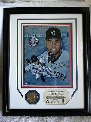 Derek Jeter Ny Yankees Amazing Highland Mint Chromium Lithograph With Coin