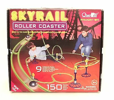 Complete Quercetti SKYRAIL Glow Roller Coaster Marble Run 150 Piece Set