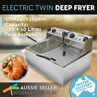 Duro Commercial Electric Deep Fryer Twin Frying Basket Chip Cooker Fry Double