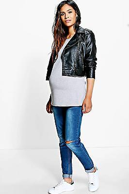 NEW Boohoo Womens Maternity Grace Over The Bump Ripped Skinny Jean in Blue size