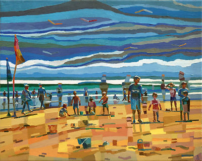 'At the Beach' Original Large Oil Painting on Canvas by Dusan Abstract Cubism