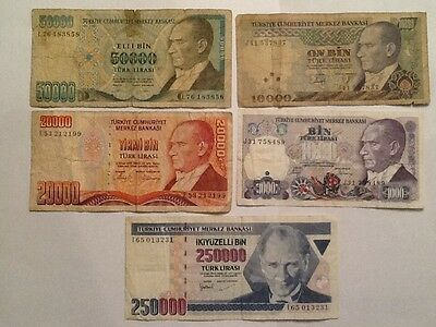 1970, Turkey a Lot of 5 Nice Value Banknotes