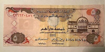1989 - 96 Issue 5 Dirhams United Arab Emarates a High Grade Value Banknote