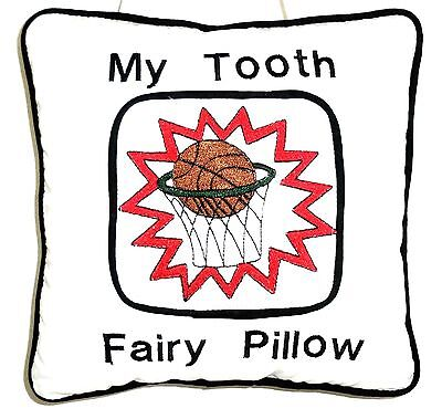 Tooth Fairy Pillow with Basketball embroidered on White Cotton 81-3 New Handmade