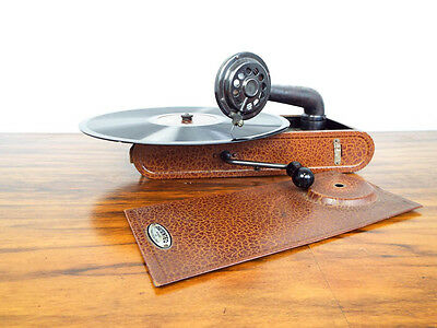 Antique 1930s Thorens Excelda Portable Hand Crank Phonograph Record Player Swiss