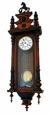 BEAUTIFUL Large Germany  ANTIQUE WALL CLOCK with HORSE on the top circa 1890