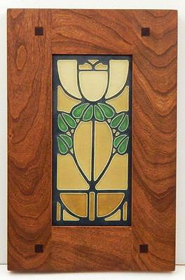 Framed Arts and Crafts Motawi 4x8 Bellflower Tile Morris Oak Frame E224