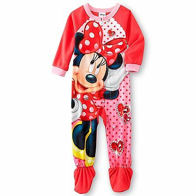 Disney Minnie Mouse Girls' One-Piece Footed Blanket Sleeper Pajamas 4T NWT NEW