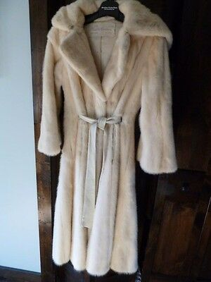 Vintage Christie Brothers White Double Fur Hooded Belted Bell Sleeve Coat